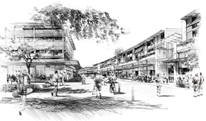 Artist Impression, black, white and colour mixed media sketch of retail zone.