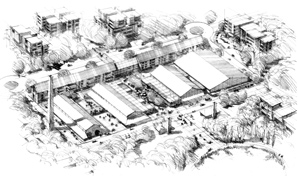 Artist impression, aerial black and white sketch of converted old brick works.