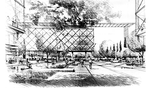Artist impression, black and white sketch of offices.