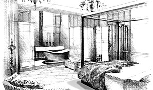 Artist impression, black and white sketch of hotel bedroom.
