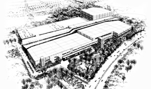 Artist impression, black and white aerial sketch of shopping centre.