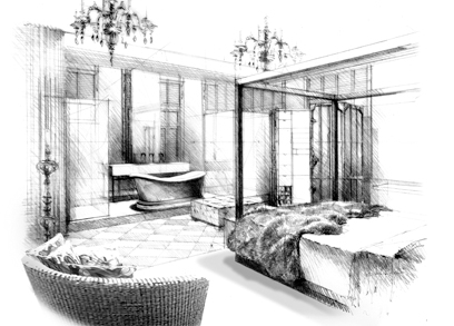 Bedroom black and white sketch